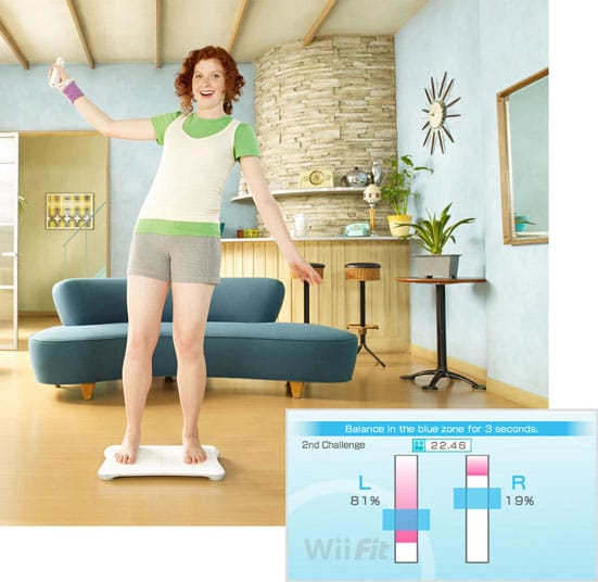 An official Nintendo image of someone having fun on the WiiFit plank.