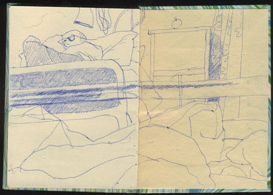 The view from the hospital bed, a drawing from the back of the diary.