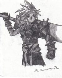 A fan's pencil drawing of a chracter from Final Fantasy, a hugely successful Japanese game franchise.