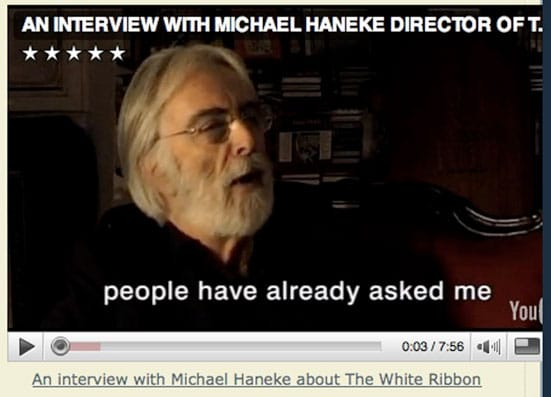 Omer Fast's 'Nostalgia' with reference to Michael Haneke — Screen-grab of an interview with Michael Haneke, available on filmstudiesforfree blog