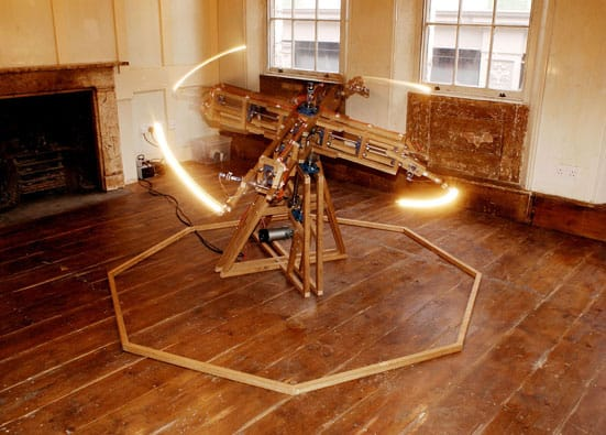 Riflemaker becomes Indica —  Conrad Shawcross, Counterpoint: Piano:(Second 9:8)  2006 140 x 140cm