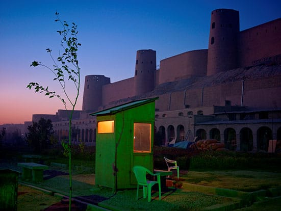 Constructing Worlds:  Photography and Architecture in the Modern Age  — Simon NorfolkA security guard's booth at the newly restored Ikhtiaruddin citadel, Herat, 2010 - 2011.Courtesy of Simon Norfolk