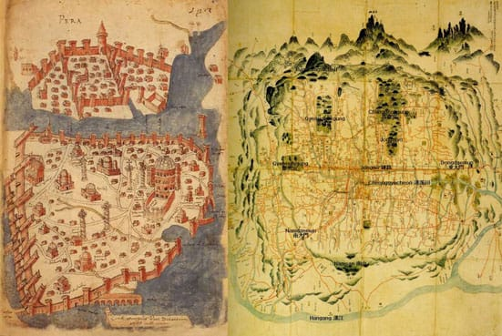 Work in Progress. Maps of the old city walls of Istanbul and Seoul in preparation for a three-month residency at the Geumcheon Art Space, Seoul.