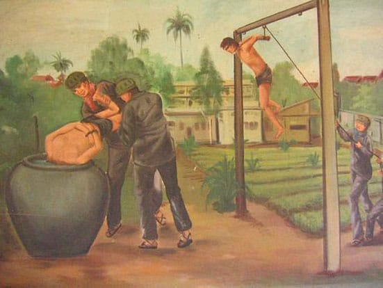 Vann Nath - 'Water Torture' on display at the Tuol Sleng Genocide Museum, Phnom Penh